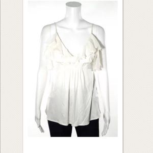 NEW CYNTHIA STEFFE OFF WHITE RUFFLE IVORY TANK TOP